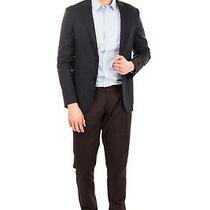 Rrp760 Z Zegna Linen & Wool Blazer Jacket Size 48 / M Dark Blue Single-Breasted Photo