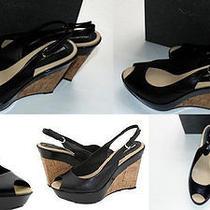 Rt1 via Spiga Designer New Nib 6.5 M Black Peep Toe Wedge Platform Heels Shoes Photo