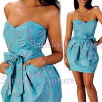 Rubber Ducky Baby Blue Silver Brocade Strapless Pleated Bow Cocktail Dress 6/8 Photo
