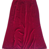 Ruby Red Eileen Fisher Petite Velvet Fluted Tea-Length Skirt 198 Msrp  Size Sp Photo
