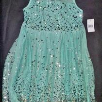Ruby Rox Kids Dress Girls Sequin Illusion Dress Aqua Silver- Size 12 Photo