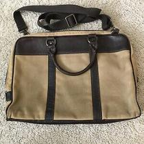 Rugged Vintage Fossil Canvas/leather Document 13-15 Laptop Messenger Bag Photo
