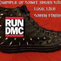 Run Dmc Hip Hop Rap Custom Studded Converse Chuck Shirt Sneakers Shoes W Spikes Photo