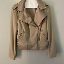 Run Way Cloth Moto Jacket in Beige With Rose Gold Details Size Medium Photo