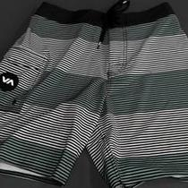 Rvca Civil Stripe Boys 27 Stretch Board Shorts Aqua Designer Kids Swim yqs.1 Photo