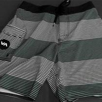 Rvca New Civil Stripe Boys 28 Board Shorts Aqua Designer Kids Childrens 104a.1 Photo