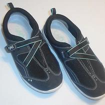 Ryka Womens 9.5w 9.5 Wide Mary Jane Velcro  Athletic Tennis Shoe Black W/ Green Photo