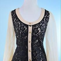 Ryu 188 Blush Pink Black 3/4 Sheer Sleeve Button Up Lace Front Cardigan Size M Photo