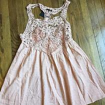 Ryu Mod Cloth Mauve Blush Pink Dress Tunic Lace Crochet L Photo