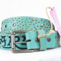 S Authentic Nwt Ed Hardy Aqua/black Sanded Studded Tiger Logo Belt 1.5