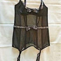 S Black Victoria's Secret Corset Sheer Tulle/lace/rhinestone Bow & Waist Accent  Photo