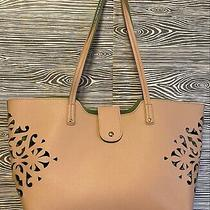 S Collection Faux Leather Pink & Green Perforated Cutout Beach Tote Bag Handbag Photo