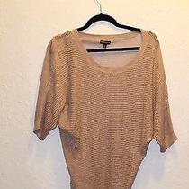 S Express Shimmery Taupe Open Knit Sweater Photo