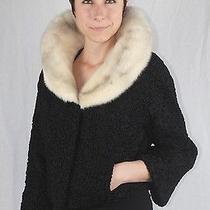 S/m Black Persian Lamb Bolero Jacket W/ Cross Mink Fur Collar W/ Storage Bag Photo