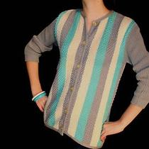 Sm Stripe Vtg 50s Rockabilly Wool Cardigan Sweater Top Pinup Aqua Gray White  Photo