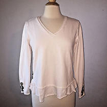 s) Neon Buddha Art to Wear Button Art Lux Soft Knit Rolled Hems Blush Pink Top Photo