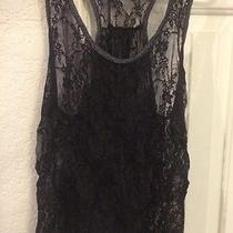s.o.y Shine on You Size M Shimmer Lace Mesh Blacetank Top Has a Little Wear Photo
