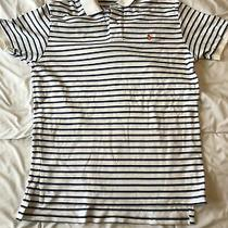 S Ralph Lauren Polo Shirt White W Blue Stripes Orange Hoarse  Photo