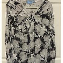 S Simply Vera Wang Floral Black Gray White Long Slv Knit Blouse Shirt Top   Photo