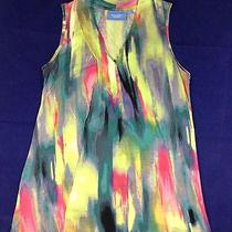 S Simply Vera Wang Sleeveless Abstract Rainbow Multi-Color Shirt Top Women Small Photo