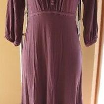 S Victoria's Secret Smoky Purple Empire Waist Ruffle Dress Crocheted Neckline Photo