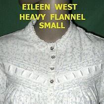 S White Flannel Cotton Pin Tuck Eileen West Prairie Nightgown Pajama Dress Photo