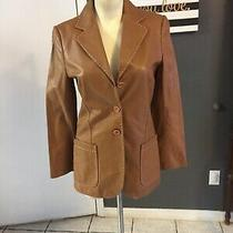 S1 Theory 1995 Womens S Leather Jacket Peacoat Long Tan Thick Stitch Photo