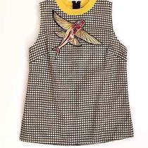 Sachin & Babi Designer Bala Tank Top Blouse Shirt Flying Fish Grid Print Small Photo