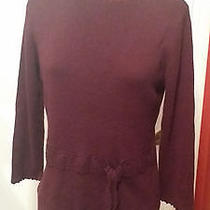 Sag Harbor Burgundy 3/4 Sleeve Crochet Elements Knit Top Sweater Women's M  Photo