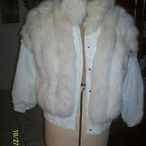 Saga Spotted Blush Lynx Dyed Fox Fur & White Leather Jacket Unsnaps to Vest M Photo