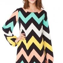 Sage Chevron Pastel Zig Zag Missoni Dress Aqua Coral Yellow Black Tur Small Photo