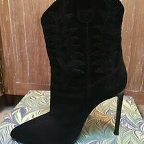 Saint Laurent Classic Paris Western Stitched Black Suede High Heel Boots Size 38 Photo