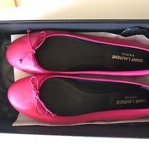 Saint Laurent Paris Ysl Pink Magenta Ballerina Flats Size 38 in Box - Chic Photo