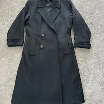 Saint Laurent Rive Gauche Black 100% Wool Long Coat Jacket Sz 38 Made in France Photo