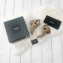Saint Laurent Rock Triple Strap 40mm Bootie 36.5 New Sigaro Tan Suede New 1095 Photo