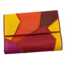 Saint Laurent Tri-Fold Wallet Patchwork Orange Leather Auth H747 Photo