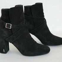 Saint Laurent - Women  Babies 90 Cross Strap Ankle Boots Black Suede - Size 38 Photo