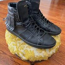 Saint Laurent Ysl Mens Black Fringe Hi-Top Sneakers 42 Us 9 Photo
