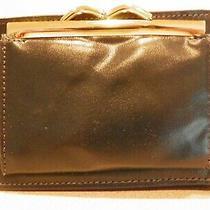 Saint Thomas Ladies Folding Wallet Navy Blue Gold Metal Trim Credit Cards Coins Photo