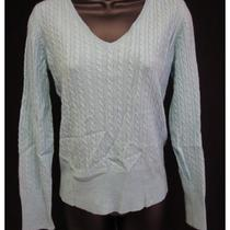 Saks Fifth Avenue Blue Cable Knit v-Neck Cashmere Sweater Top Sz M Photo