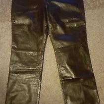 Saks Fifth Avenue Elements by Vacco Brown Leather Womens Pants Jeans  Photo