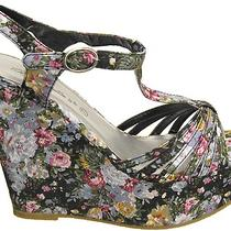 Saleblack 7.5women Mother Gift Spring Fashion Peep Toe Floral Wedge Sandalrb9 Photo