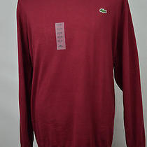 Sale Brand New Lacoste Burgundy Red Ribbed v-Neck Cotton Sweater Size 4xlt 11l Photo