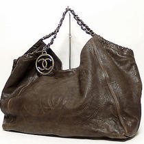 Sale Chanel Coco Cabas Chain Shoulder Hobo Bag Brown Caviar Distressed Leather Photo