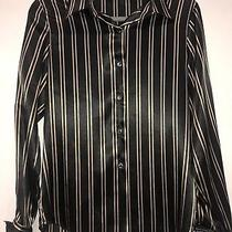 Sale Christie & Jill Poly Satin Striped Blouse Beige Black Size 8 French Cuff Photo