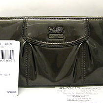 Sale Coach Madison Acc'd Patent Leather Zip Ard Wallet Pewter 46620 218 Receipt Photo