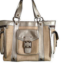 Sale Coach Straw Gold Leather Trim Large Tote Photo