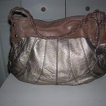 .sale  Fossil 54 Gold/brown Braided Trim Hobo  Excellent Condition Photo