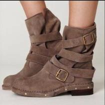 Sale Jeffrey Campbell Tan Suede Wrap Boots Booties Riding Moto Photo