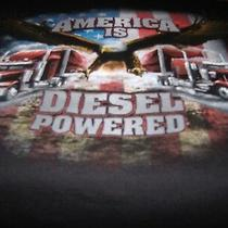 Sale - Men's Sz Xl America Is Diesel Powered Truck Wear Patriotic Big Rig Tee Photo